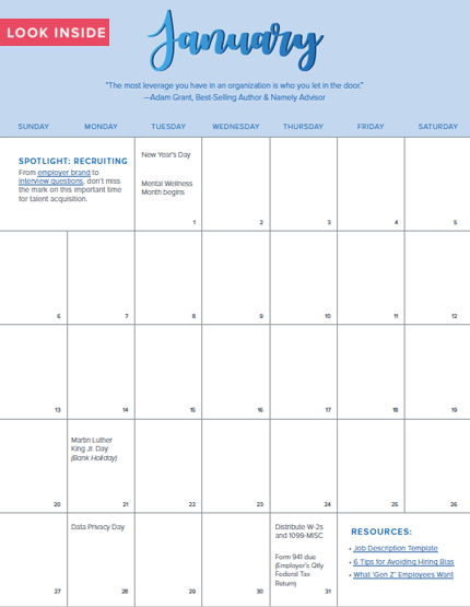 Your 2019 HR Calendar